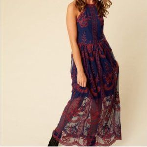 Altar'd State Onawei Lace Overlay Dress in Plum
